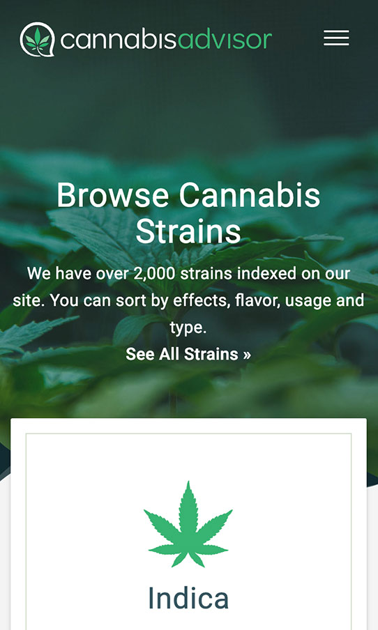 CannabisAdvisor Mobile Strains